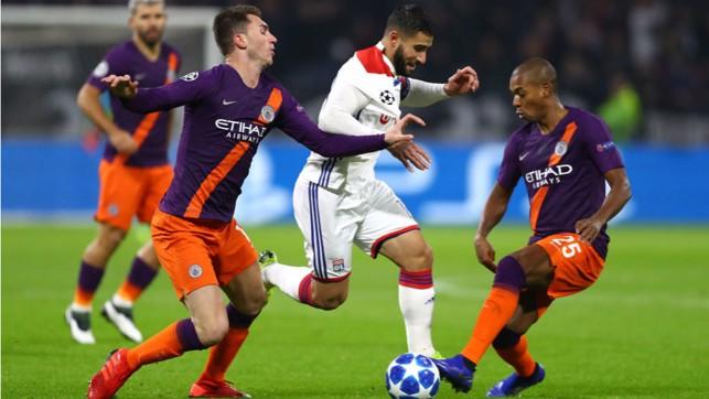 NO ENTRY : Fernandinho and Ayemric Laporte put the squeeze on Lyon dangerman Nabil Fekir