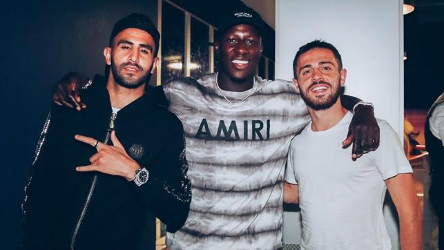 THREE AMIGOS : An excited trio of Riyad Mahrez, Benjamin Mendy and Bernardo Silva