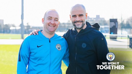 DOUBLE DELIGHT: It proved to be a wonderful weekend for Pep Guardiola and Nick Cushing