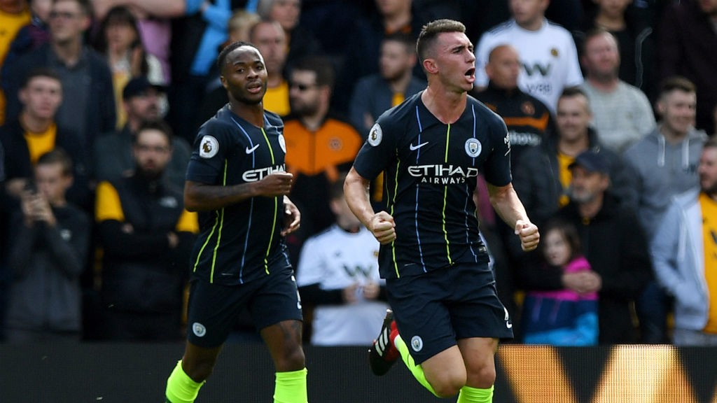 LEVELLER : Aymeric Laporte celebrates his goal with Raheem Sterling