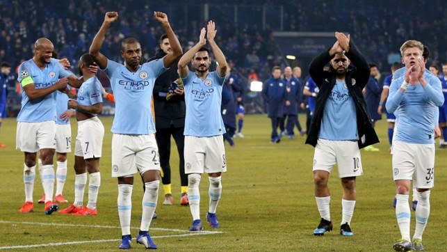 Manchester City stars thank the travelling City-faithful