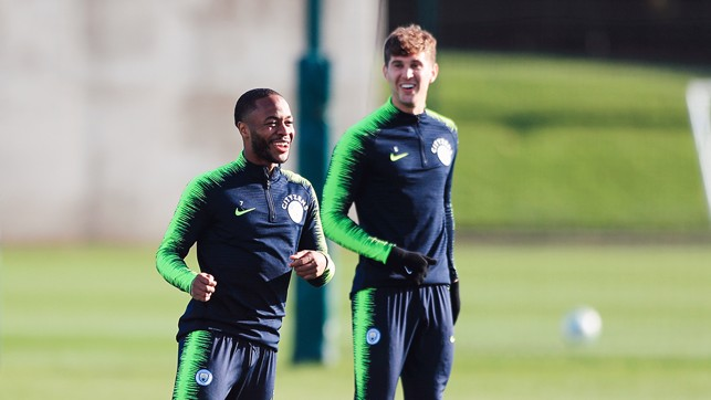 SUNNY SIDE UP : Raheem and John were in good spirits with the Autumn sun lighting up the CFA