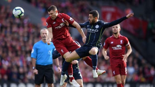 JUMP TO IT : Bernardo Silva challenges former City star James Milner