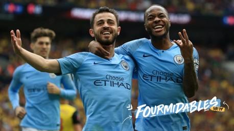 DELIGHT: Bernardo celebrates with Raheem Sterling at Wembley.