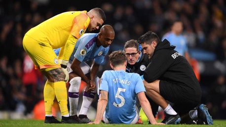 CONCERN: John Stones was forced off in the second half.