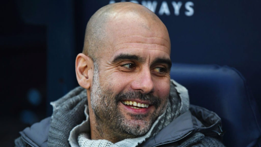 WHAT THE DOCTOR ORDERED : Pep's all smiles after City taken an early lead.