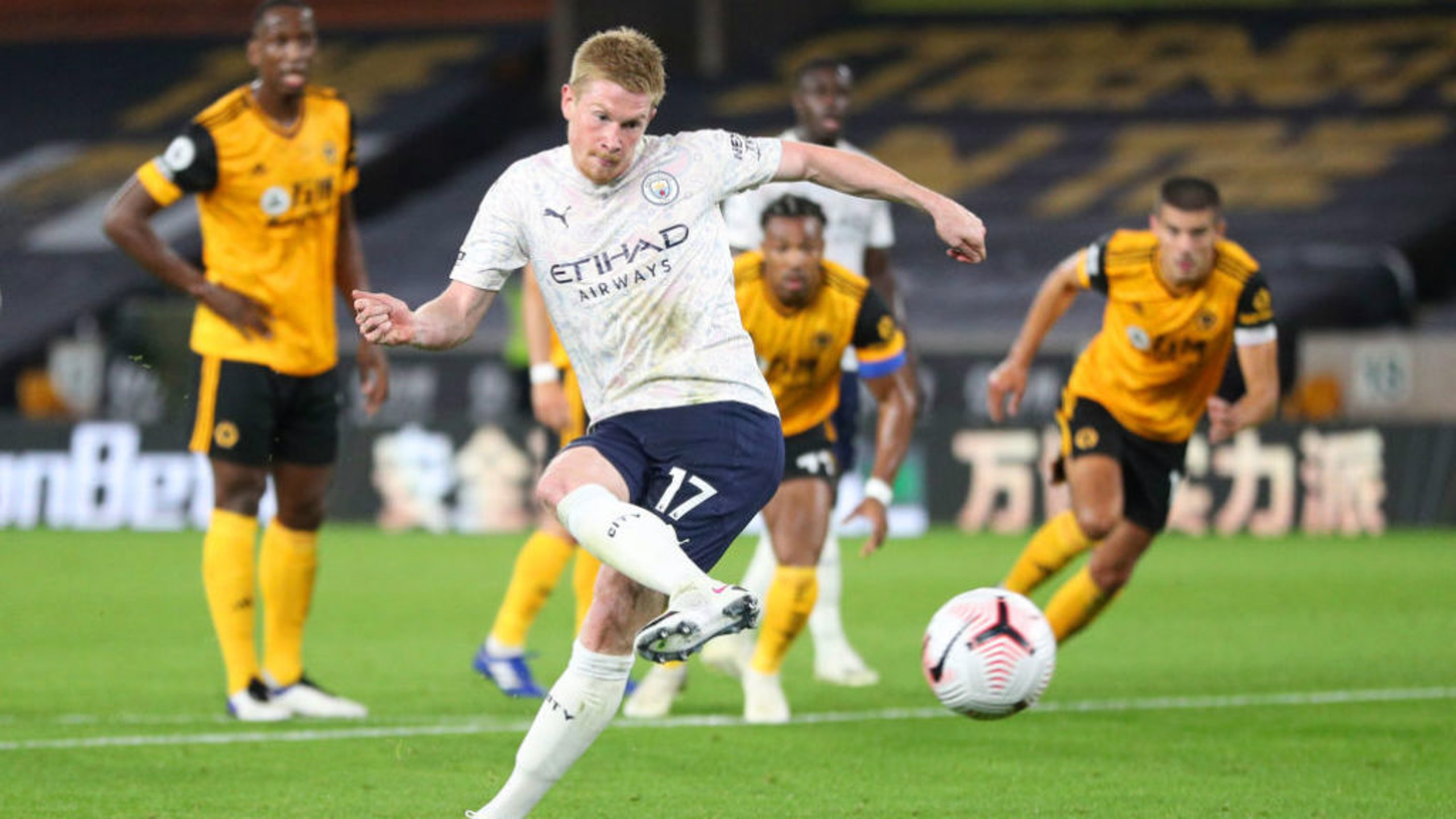 UP AND RUNNING: Kevin De Bruyne makes no mistake with his penalty