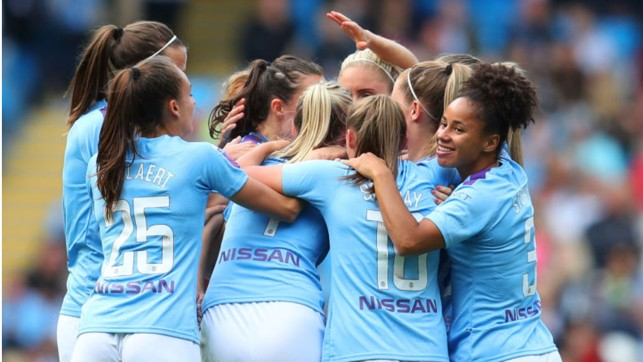 WHAT A FEELING : The City players salute Caroline Weir after her wonder goal