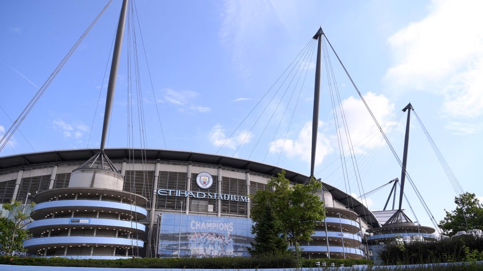 HOME : Bright blue sky above the Etihad ahead of the clash with the Saints.