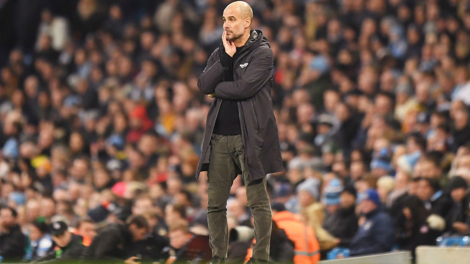 THE BOSS: Pep watches on from the dugout