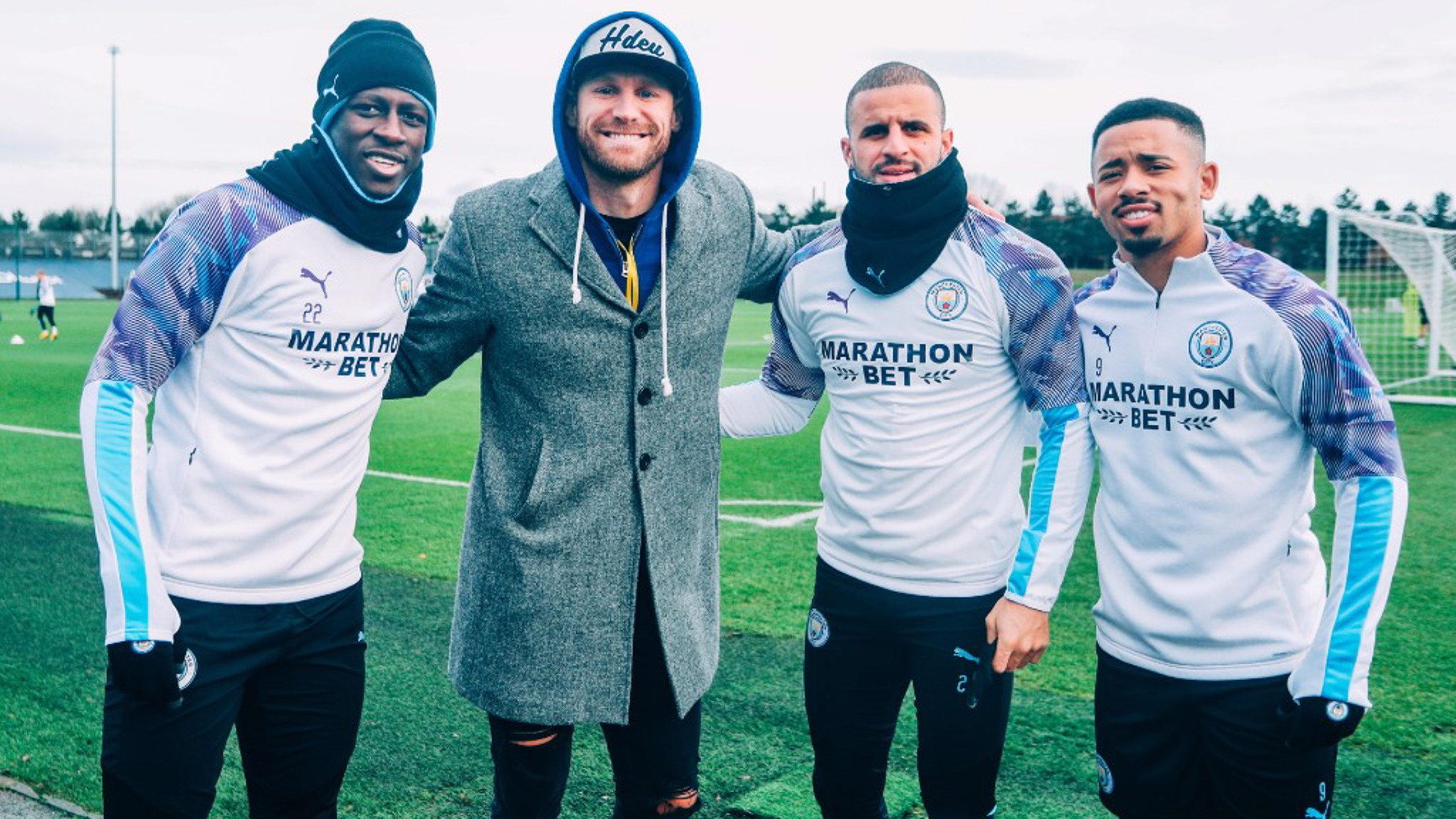 CITY BOYS: Benjamin Mendy, Kyle Walker and Gabriel Jesus stop for a photo with Chase Rice.
