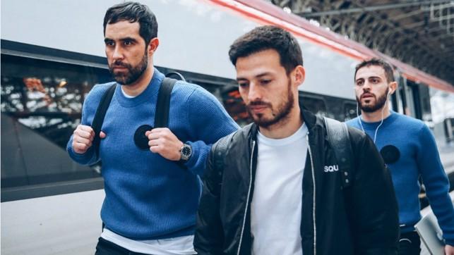 EYES ON THE PRIZE : Claudio Bravo, David Silva and Bernardo Silva are a study in focus