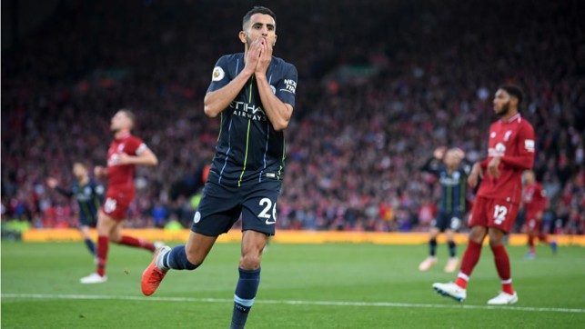 SO CLOSE : Riyad Mahrez's expression says it all after a second half shot went narrowly wide