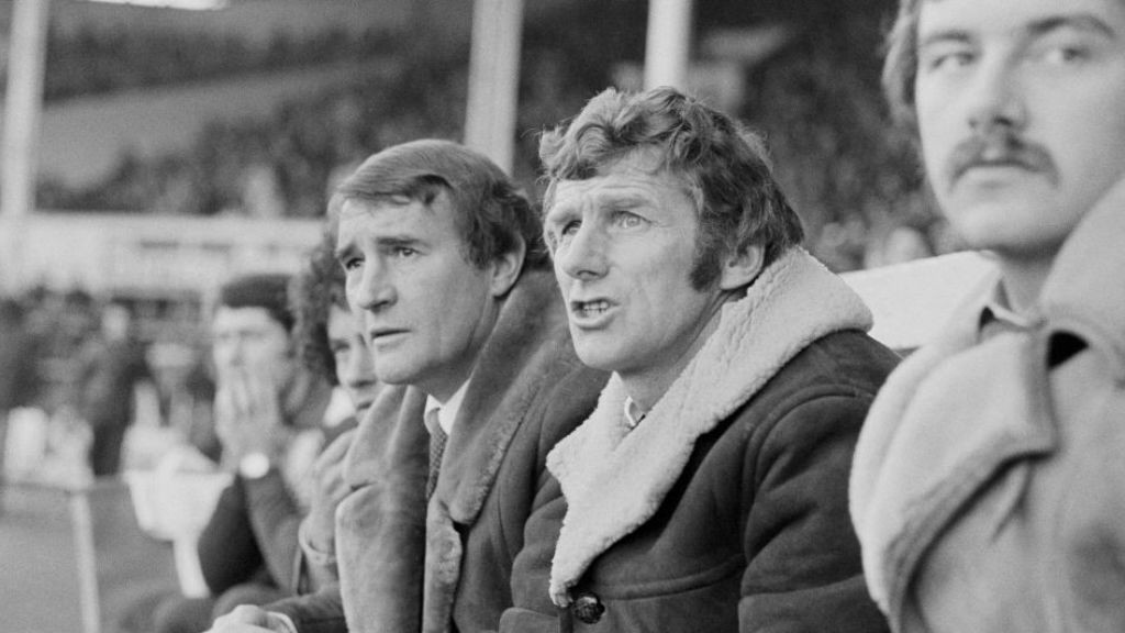 WATCHING BRIEF: Malcolm Allison looks on with fellow City great, Tony Book, alongside him