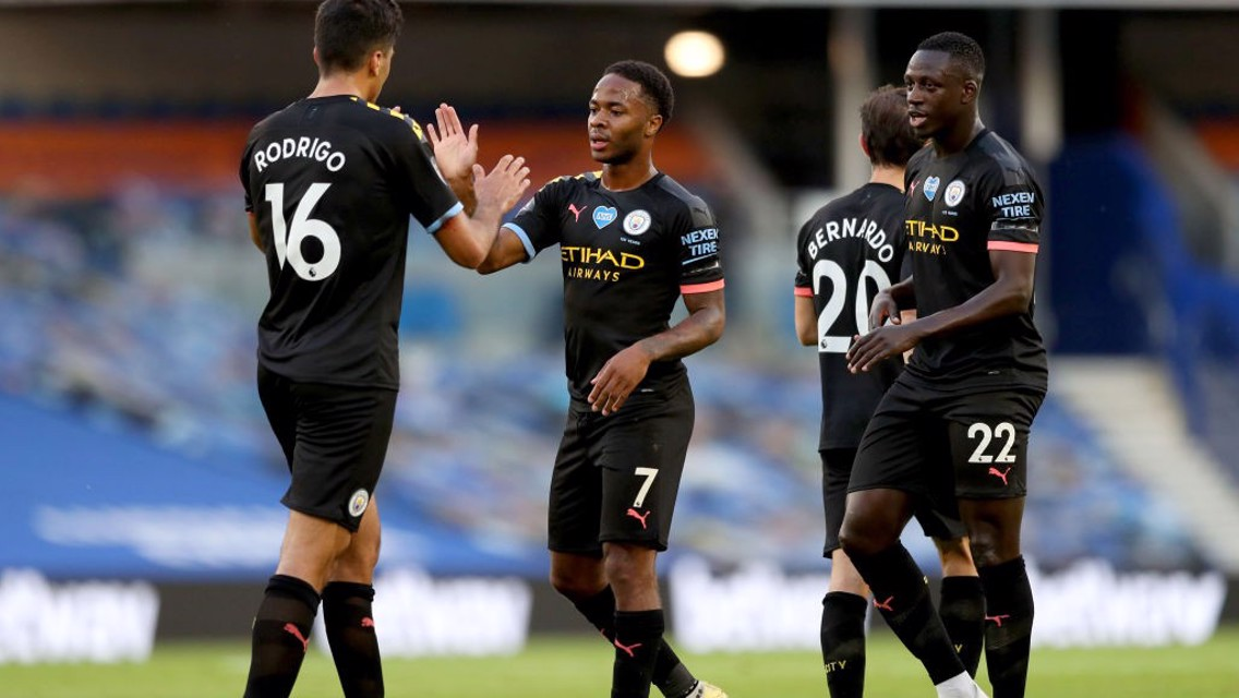 CAUSING A STER: Raheem celebrates his opener with the lads