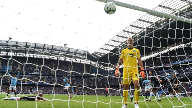 HART BREAK : Joe Hart can only look on in dejection after City's opening goal
