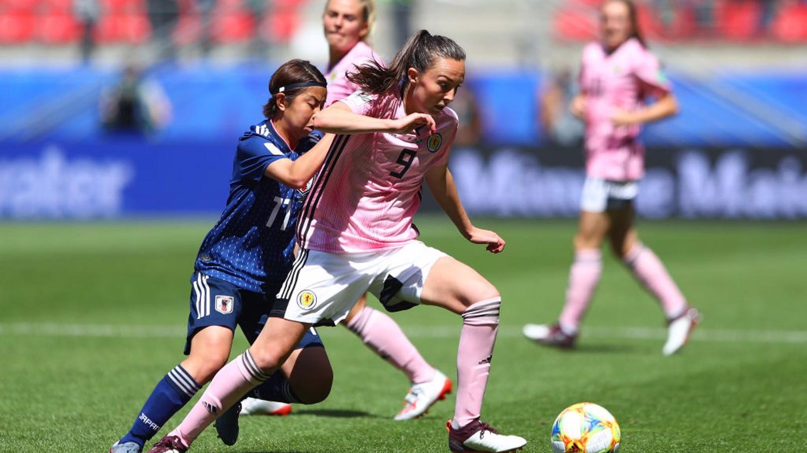 IN ACTION: Caroline Weir battles for possession against Japan.