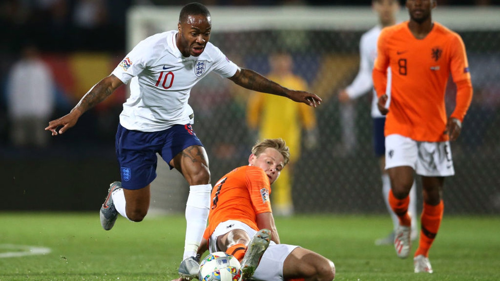 FORWARD MARCH: Raheem Sterling, named England skipper for the night, looks to put the Three Lions on the front foot.