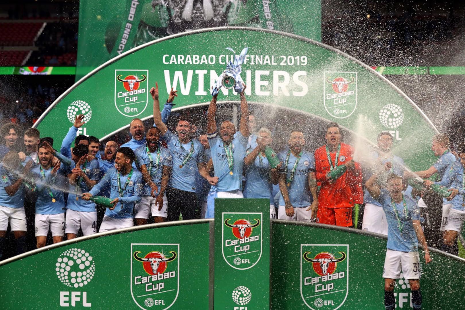 WINNERS: Vincent Kompany hoists the Carabao Cup aloft in 2019.