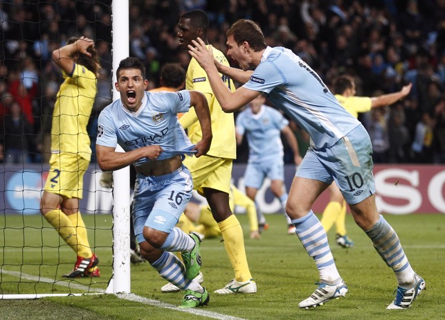 LATE DRAMA : Aguero scores in stoppage time to secure victory over Villarreal in 2011