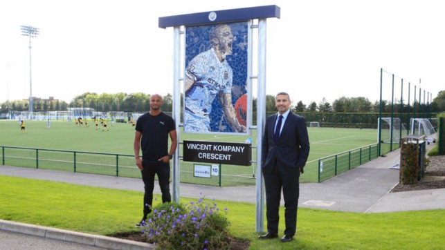 LIVING LEGEND : The man of the hour was immortalised earlier at the Manchester City Academy