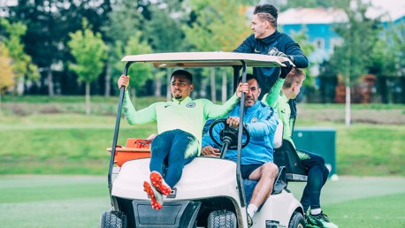 PARK THE BUS: The lads hitch a ride into training