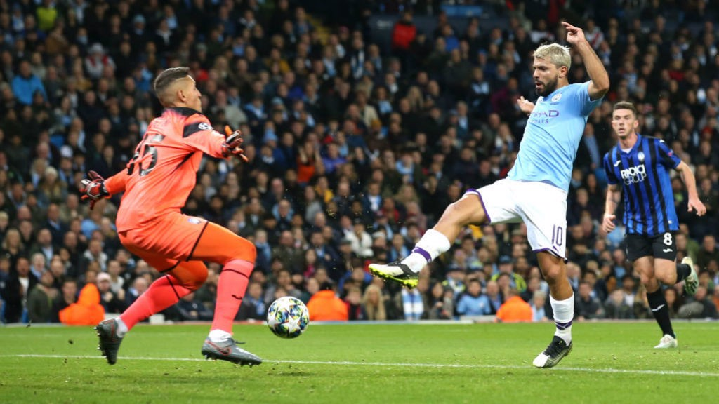 INSTINCTIVE : But City were level when Aguero pounced inside the area to finish from close range
