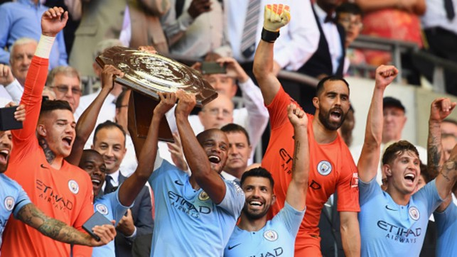 FIRST SILVERWARE : City lift their first trophy of the new season with a 2-0 Community Shield win over Chelsea