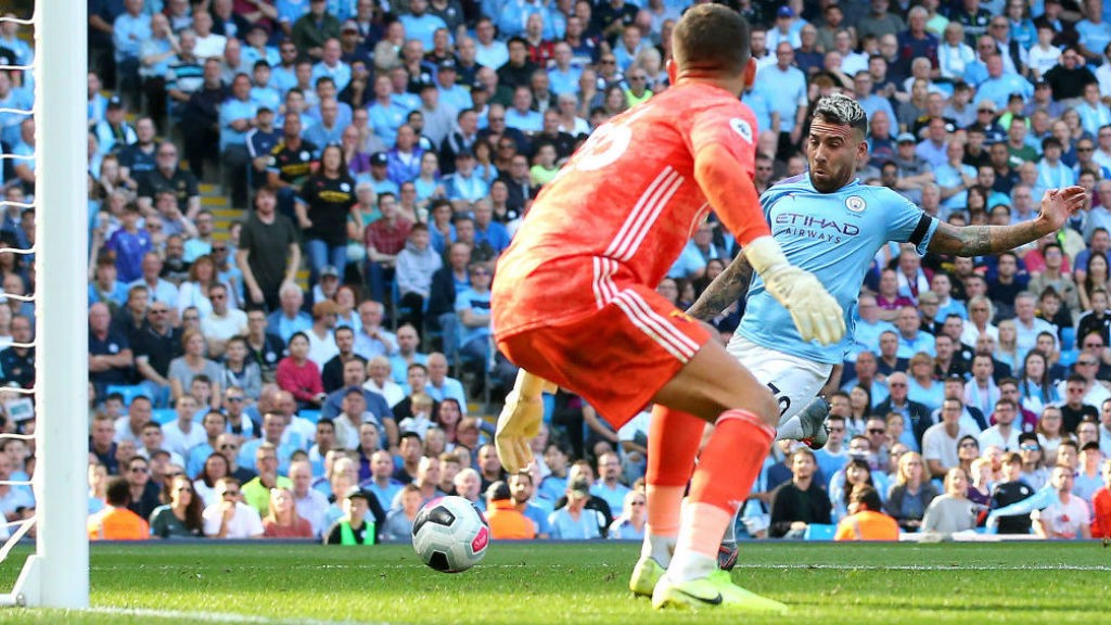 HIGH FIVES : Nicolas Otamendi makes it five inside the first 18 minutes