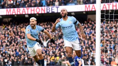 Raheem Sterling celebrates early goal