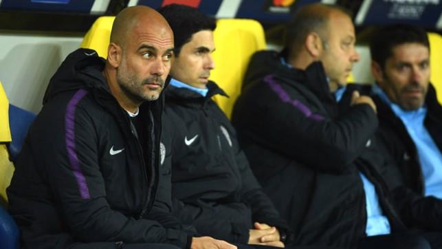 WATCHING BRIEF : Pep Guardiola keeps a careful eye on proceedings