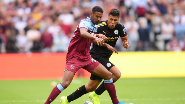PATROLLING : Rodri gets his first taste of the Premier League.