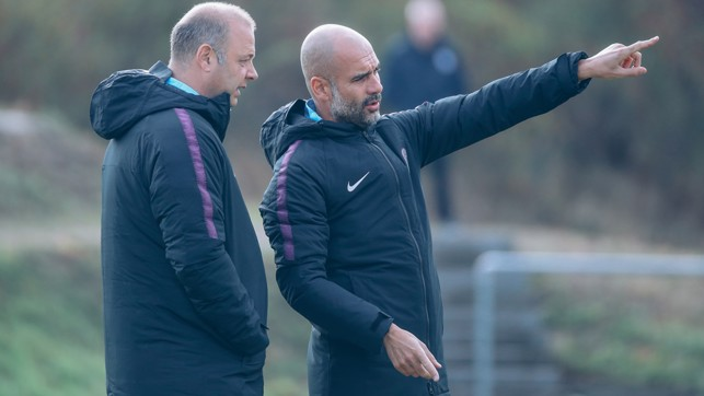 ON POINT : Pep Guardiola delivers instructions