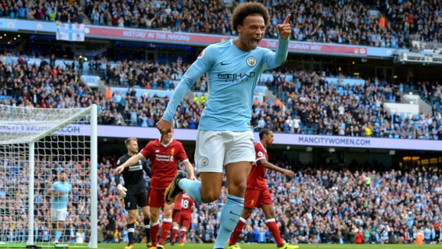 ON POINT: Leroy bagged a brilliant brace against Liverpool in 2017
