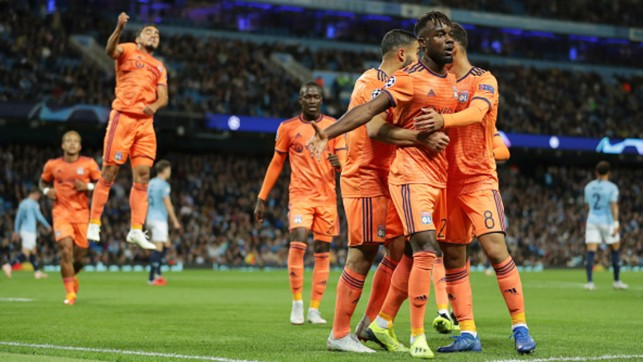 SETBACK : Lyon's Maxwell Cornet celebrates his side's first in the 2-1 loss in the opening game of this season's Champions League