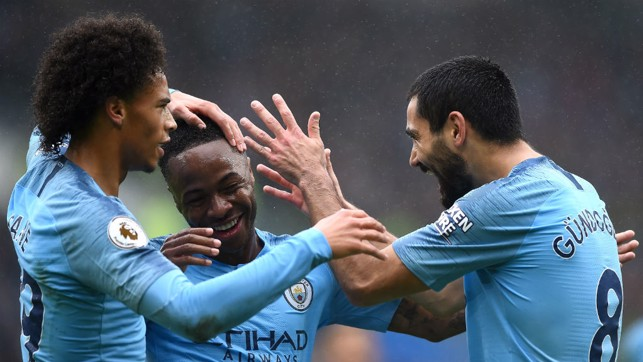 FEELING GOOD : Leroy Sane, Raheem Sterling and Ilkay Gundogan
