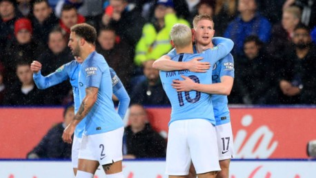 BLUE HEAVEN: Kevin De Bruyne celebrates after his early strike with Sergio Aguero