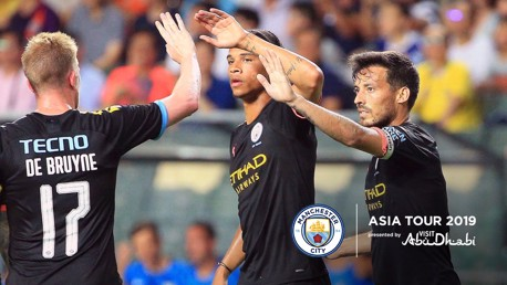LEADING BY EXAMPLE: David Silva celebrates his opener against Kitchee with Leroy Sane and Kevin De Bruyne