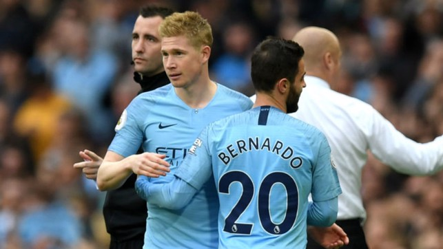 BACK IN BUSINESS : Kevin De Bruyne makes a welcome return from injury as he replaces Bernardo Silva