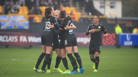 GROUP HUG: Steph Houghton is mobbed after her match winning goal.
