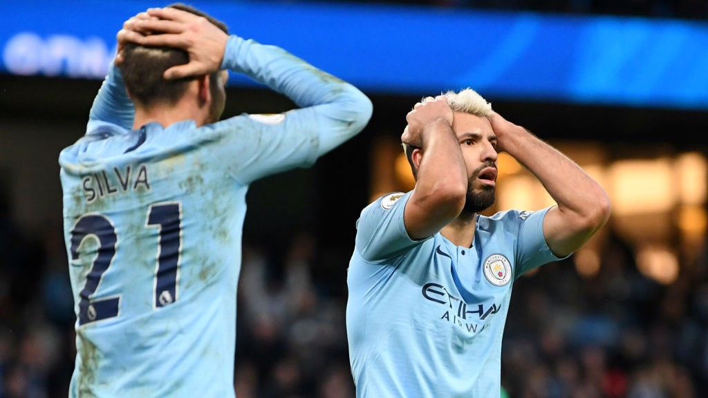 FRUSTRATION : Sergio Aguero and David Silva react as City come close to scoring the opener