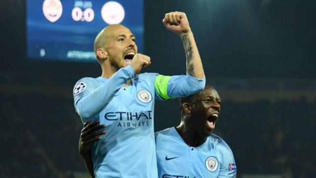JUST CHAMPION : David Silva celebrates his stunning goal with Benjamin Mendy