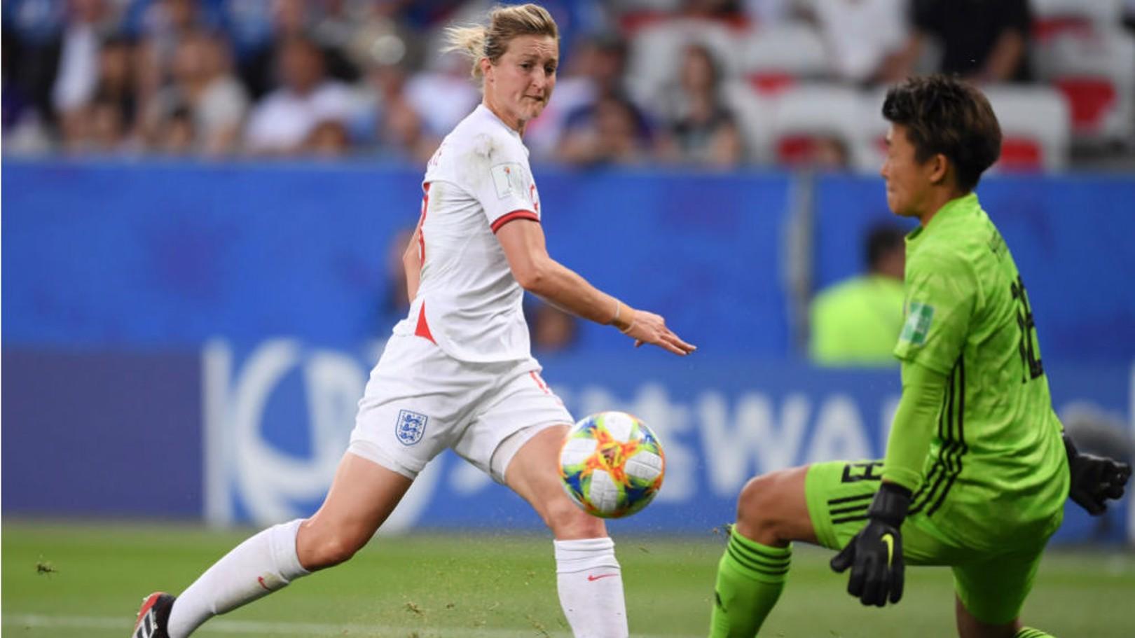 ON THE MARK: Ellen White fires England ahead against Japan