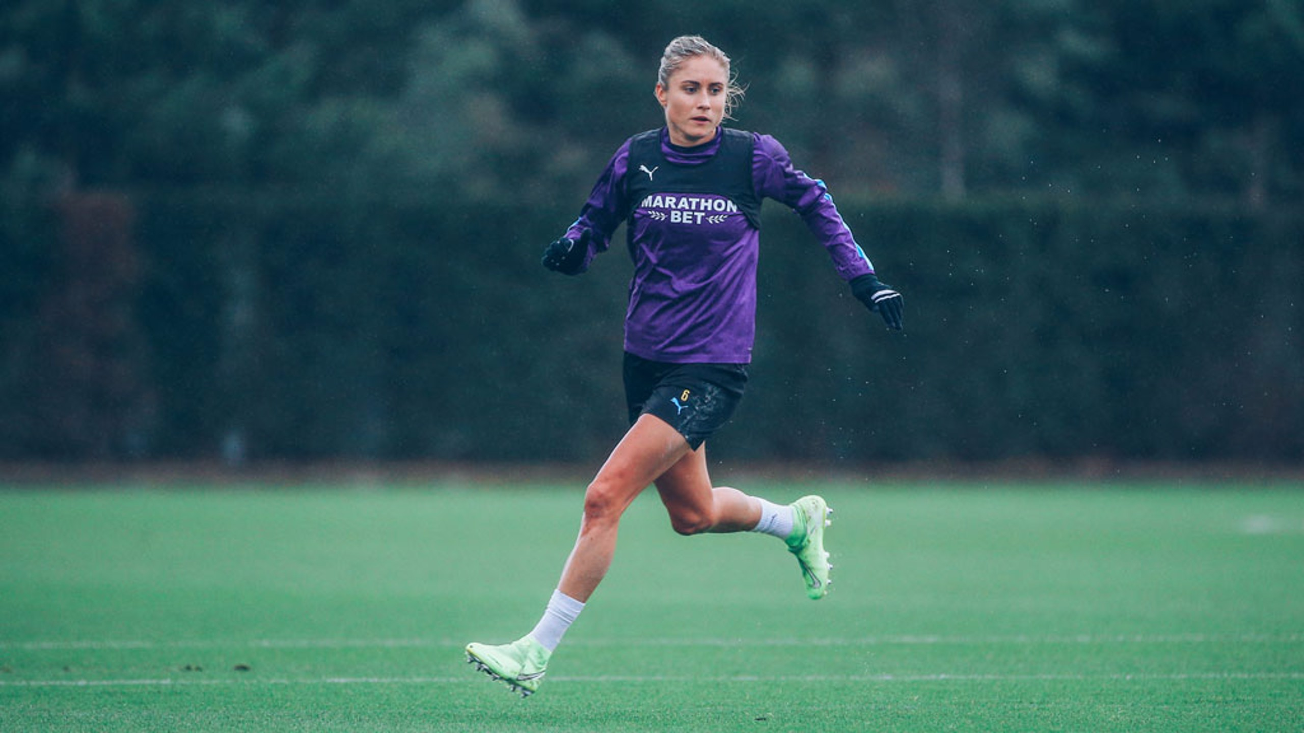 LEADING EXAMPLE: Skipper Steph Houghton goes through her paces as City finalise preparations for the trip to Chelsea