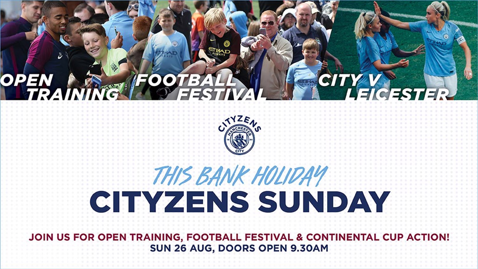CITYZENS SUNDAY: Join us at the CFA for a day of family fun and open training