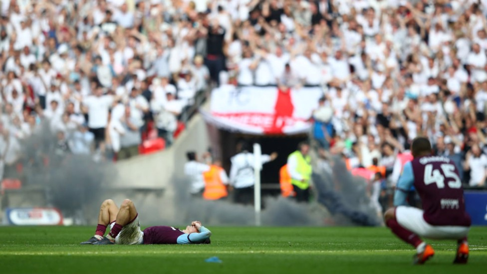 PLAY-OFF PERIL: Jack and Aston Villa are beaten 1-0 by Fulham in the 2018 Championship play-off final