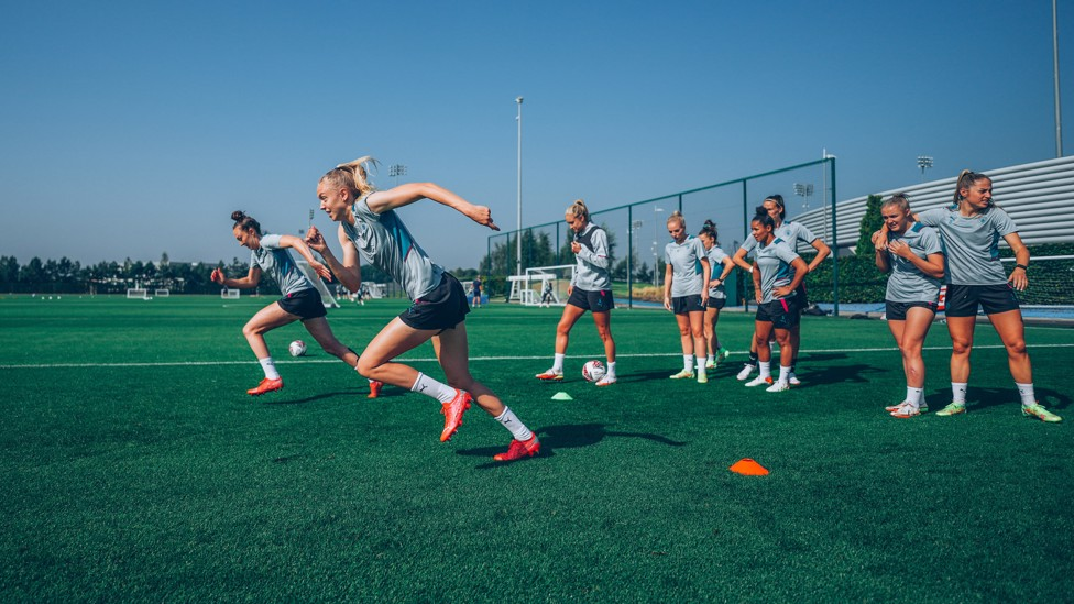 AT FULL STRETCH: The City squad go through their paces