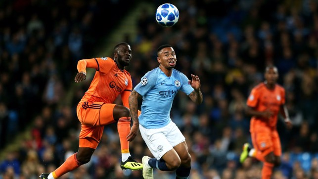 ACTION STATIONS : Gabriel Jesus powers in on the Lyon goal