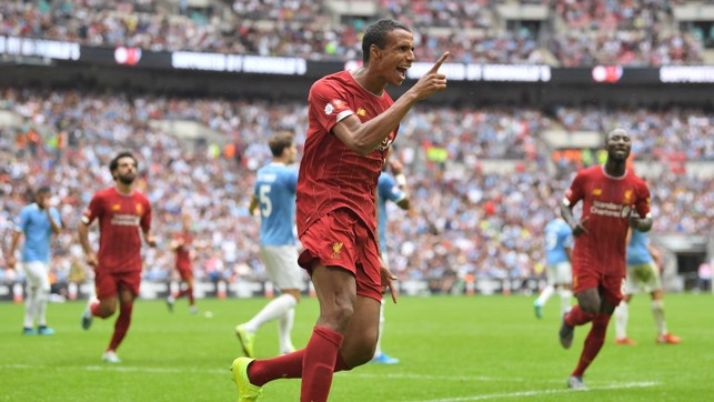 LEVELLER : Joel Matip heads home for Liverpool on 76 minutes.
