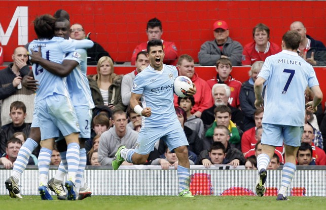 DERBY DELIGHT : Aguero scored on his Manchester derby debut in 2011